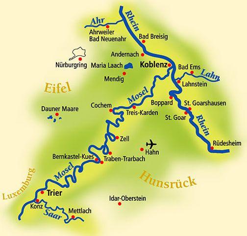 tyska floder karta Karta över Moseldalen   Moseldalen.nu tyska floder karta